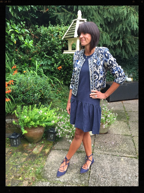 My Midlife Fashion, Mango Quilted Jacket, Boden Ghillie lace ups, marks and spencer drop waist dress