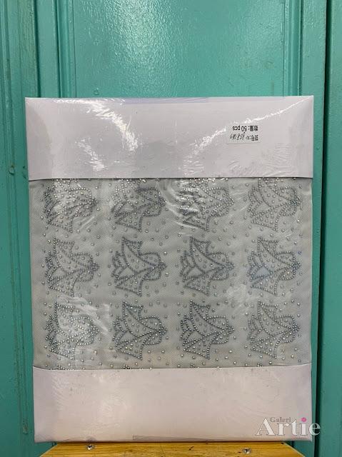 Pelekat hotfix sticker rhinestone DMC aplikasi tudung bawal fabrik pakaian corak bunga sekuntum warna silver