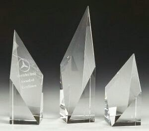 "Small Clear Diamond Spire Crystal Award (6"")"