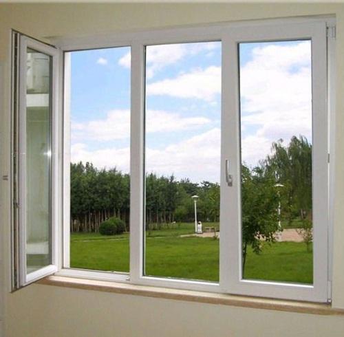 jendela swing upvc tengah kaca mati