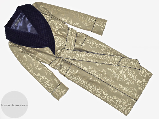 mens quilted dressing gown gold paisley jacquard dark navy blue velvet robe silk smoking jacket warm full length lined luxury