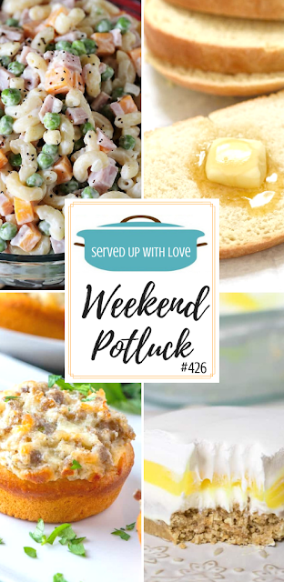 Weekend Potluck featured recipes include Ham and Cheese Macaroni Salad, Easy Milk and Honey Bread, Lemon Lush, Cream Cheese Sausage Stuffed Biscuits, and so much more.