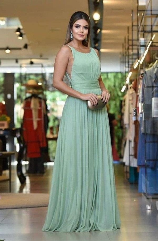 vestido longo verde menta fluido