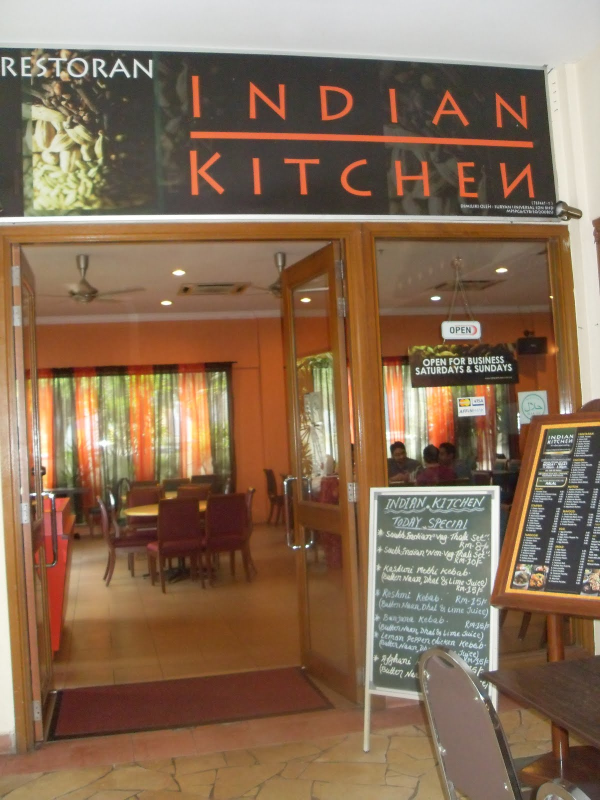 Indian Kitchen Menu Bangsar