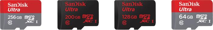 サンディスク「Ultra」マイクロSDカードの商品ラインナップ