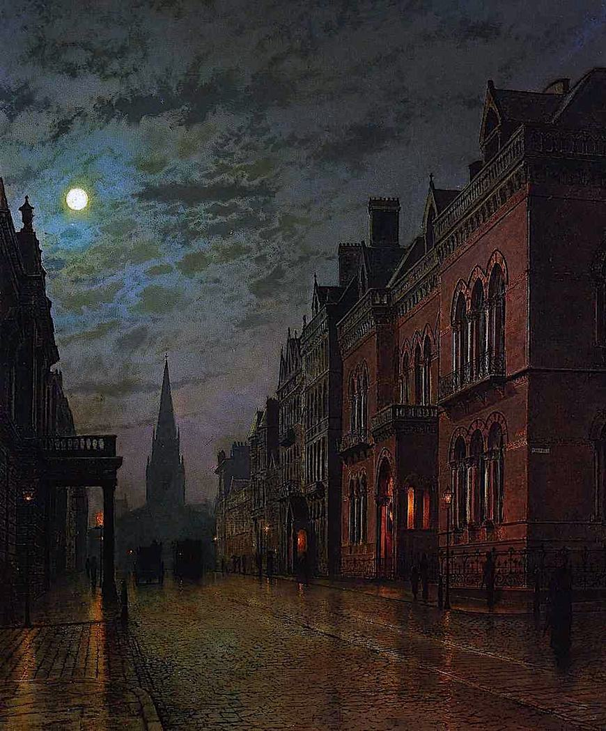 a John A. Grimshaw painting of a wet moonlit street