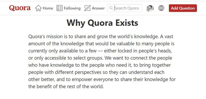 Why Quora Exists