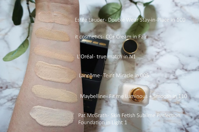 Review Pat McGrath - Skin Fetish Sublime Perfection Foundation Swatches