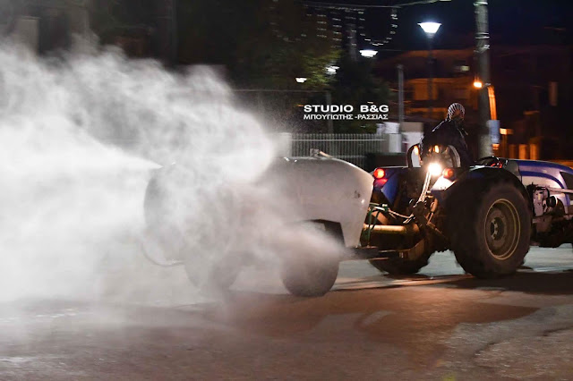 Η ολονύχτια επιχείρηση απολύμανσης στη Νέα Κίο Αργολίδας (βίντεο)