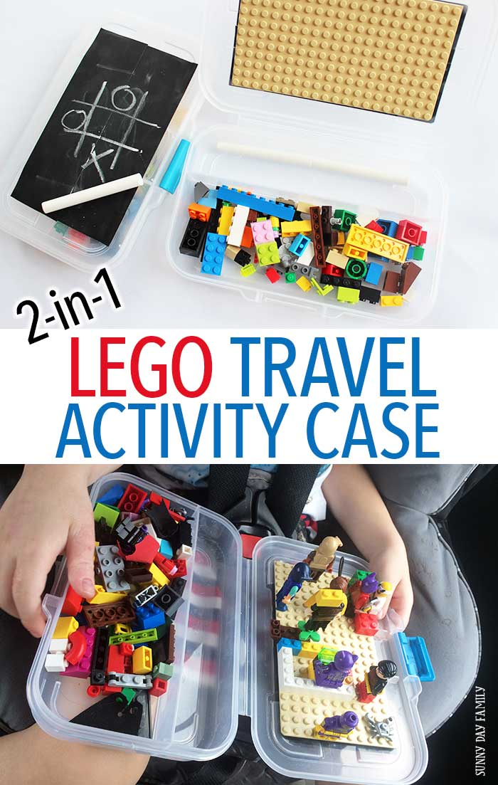 Make an easy DIY LEGO travel activity case for your next road trip! This LEGO travel kit does double duty as a portable drawing kit too. It's the perfect road trip activity for kids and makes a great quiet time activity too. Or a fun LEGO gift idea! LEGO | LEGO storage | Road Trip Activity | Quiet Box