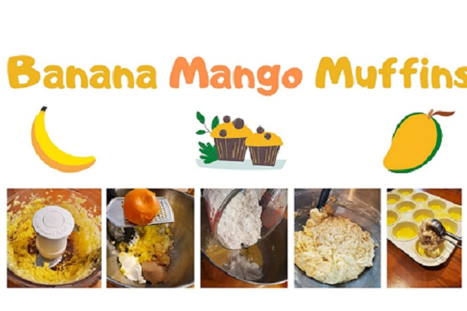 this a collage of step by step making banana mango muffins