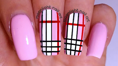 Plaid Nail Design Tutorial: Black, White and Red on Pink Nail Art
