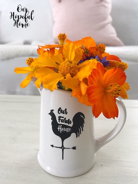Our Farmhouse white ceramic pitcher orange flowers