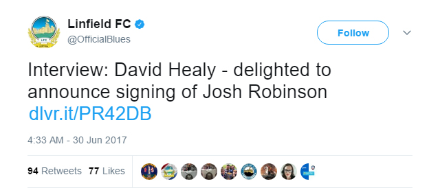 Linfield announce the signing of Josh Robinson from York City