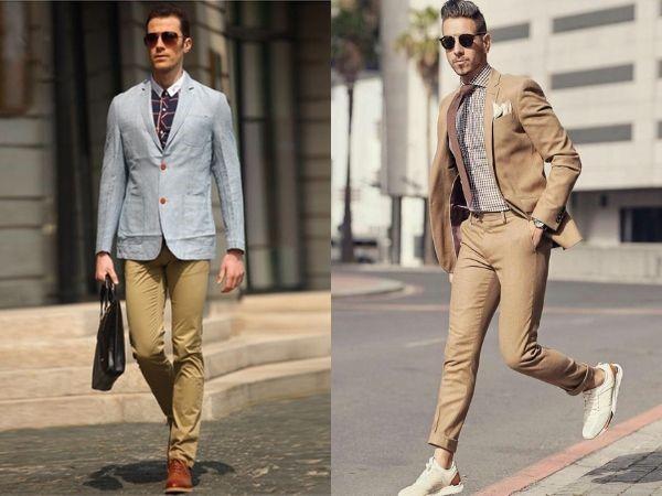 phối quần kaki nam với áo blazer