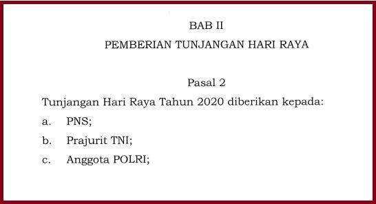 Juknis Pemberian THR Bagi PNS, TNI, POLRI dan Pensiunan bedasarkan PMK Nomor 49 Tahun 2020