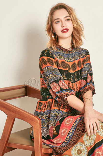 Classic Silk Long Sleeves Printed Tunic Dress