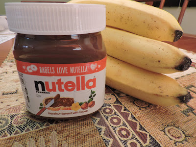 Nutella and bananas for Banana Nut Bread. Yum!