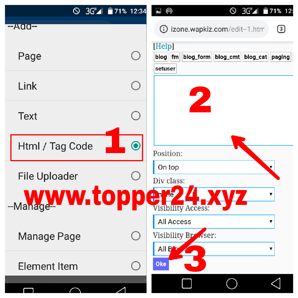 Wapkiz Add Html/Tag Code