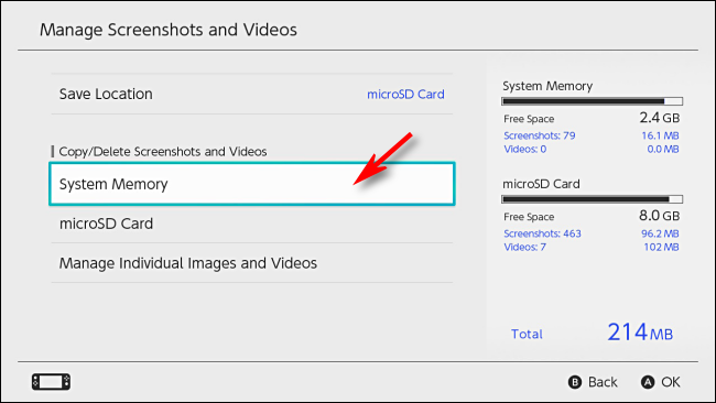 إدارة قائمة لقطات الشاشة والفيديو في إعدادات Nintendo Switch