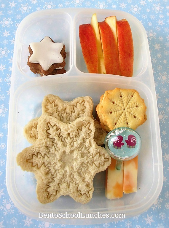 Snowflakes bento lunch in Easylunchboxes.