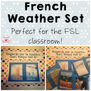 French (FSL) bulletin board sets- perfect for practicing and reinforcing oral language in the upper elementary classroom - French Seasons and Weather