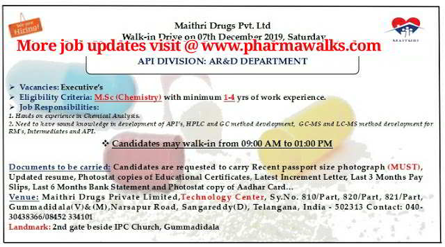 Maithri Drugs walk-in interview for AR&D department on 7th Dec' 2019