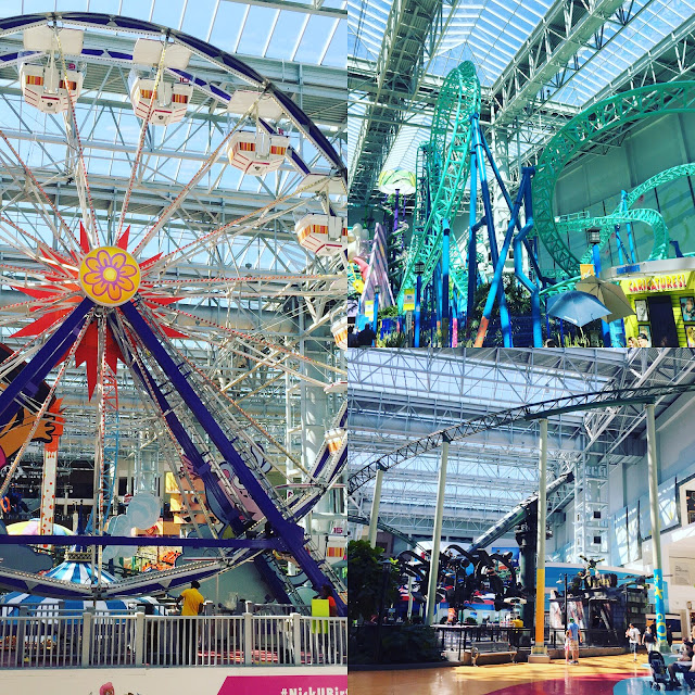 Ferris wheel and roller coasters at Nickelodeon Universe in Mall of America