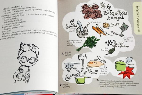 Wnętrze książki, Felek i przepis na żołądki z warzywami