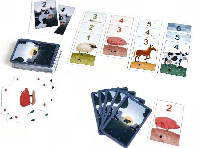 na zdjęciu widać początkowe rozłożenie kart, karty to nie moje ułożone w kolumnach, zakryty stos kart dobierania, gracze otrzymują po dziewięć kart
