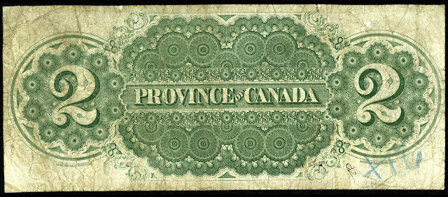 Province of Canada 2 Dollar Bill 1866