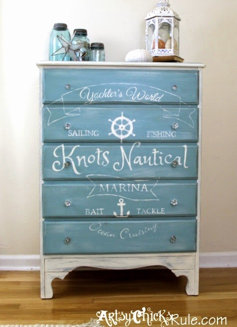nautical dresser makeover