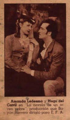 Amanda Ledesma y Hugo Del Carril ,en la pelicula-La novela de un joven pobre