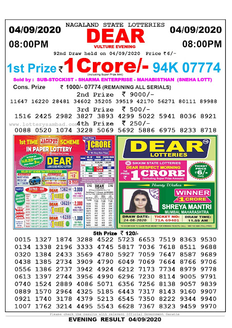 Lottery Sambad Result 04.09.2020 Dear Vulture Evening 8:00 pm