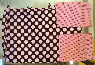 tecidos em poá marrom e rosa