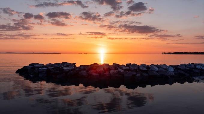 Pôr do Sol, Pedras, Mar, Horizonte, Céu