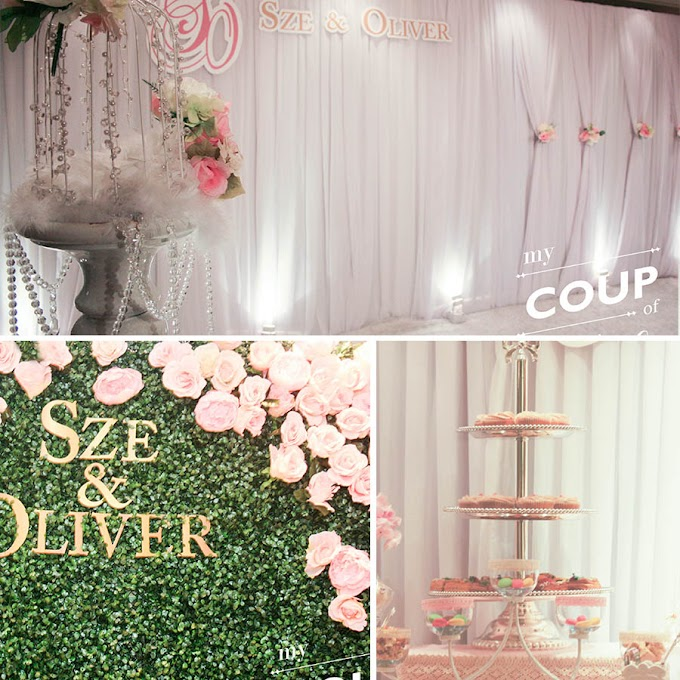 Wedding Decoration - Peach Colour theme with Grass Wall @InterContinental Grand Stanford Hong Kong