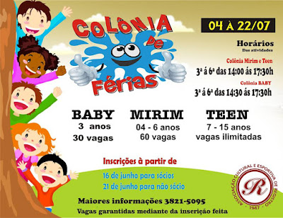 Participe da Colônia de Férias da ACER em Registro-SP