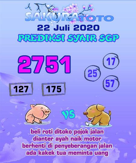 Prediksi Togel Sakuratoto Singapura Rabu 22 Juli 2020
