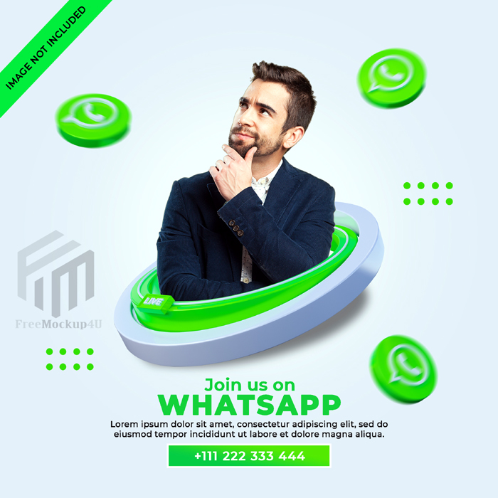 Follow Us Whatsapp Social Media Square Banner With 3D Logo Link Profile Box