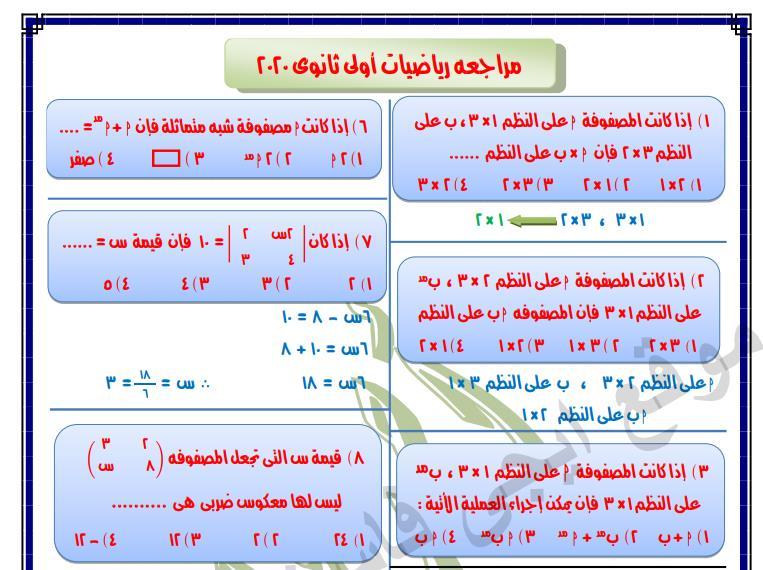 مذكرة رياضيات كاملة للصف الاول الثانوي الترم الثاني لعام 2021