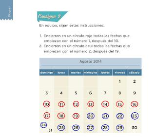 Lección 6 el calendario Matemáticas Primer Grado Contestada