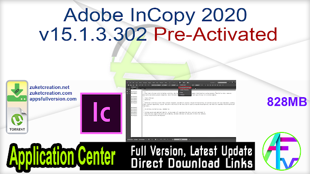 Adobe InCopy 2020 v15.1.3.302 Pre-Activated