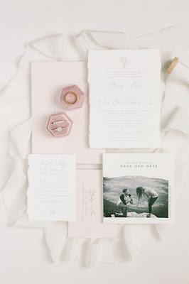 wedding details photo with pink ring box
