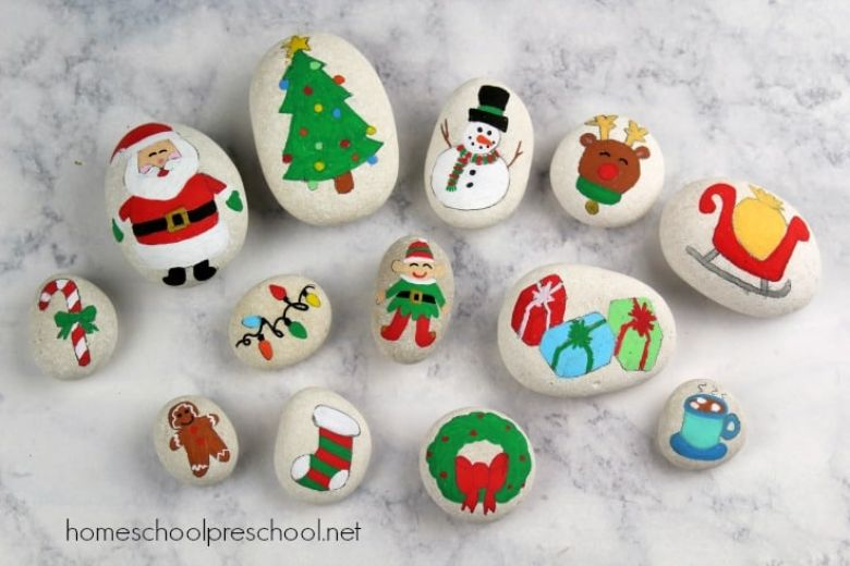 Christmas story stones rock painting ideas