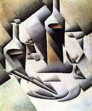 Garrafas e Facas - Técnica de colagem e cubismo nas obras de Juan Gris