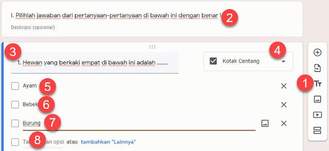 Membuat soal pilihan ganda di Google Form