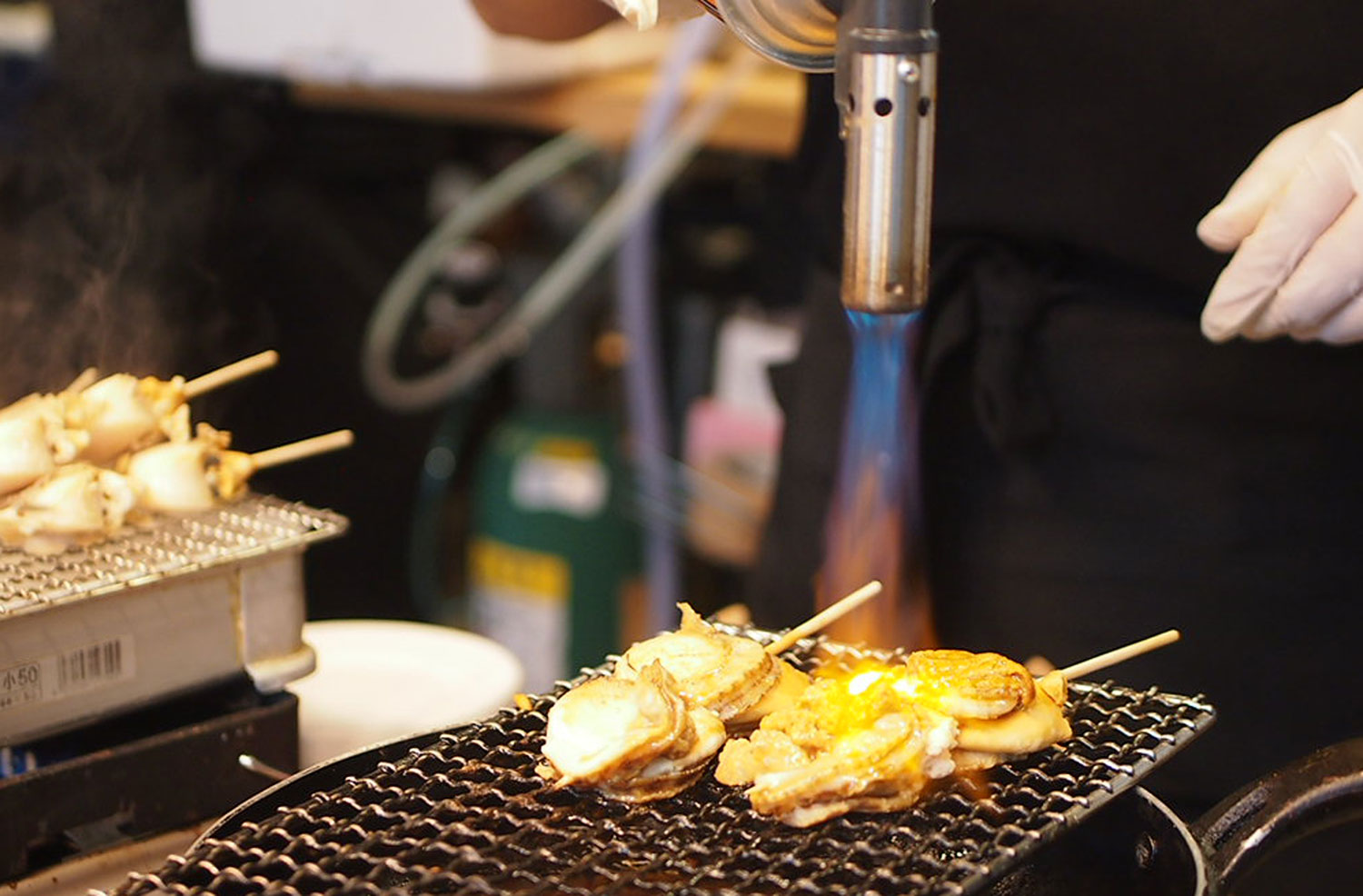 Tsukiji Market - Blow torch scallops