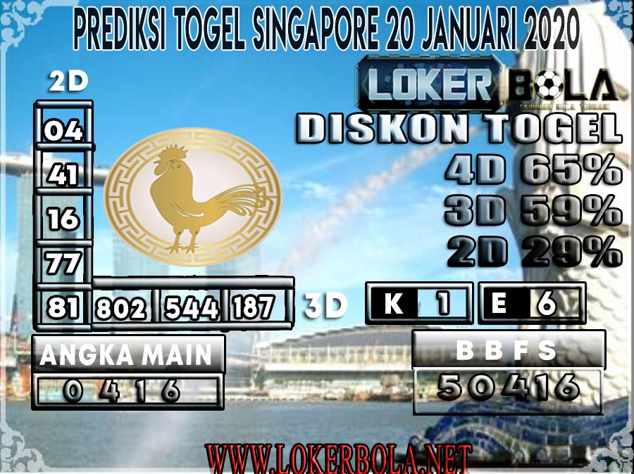 PREDIKSI TOGEL SINGAPORE LOKERBOLA 20 JANUARI 2020