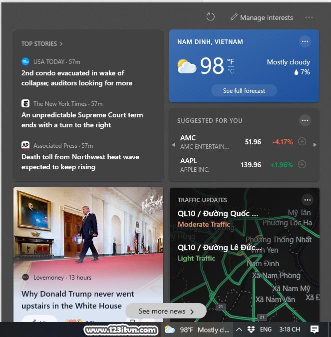 Cách bật tắt thời tiết trên thanh taskbar win 10